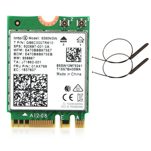 Intel Wireless ac 9260 9260NGW 1.73Mbps Dual Band BT5.0 Wifi Card With Antennas