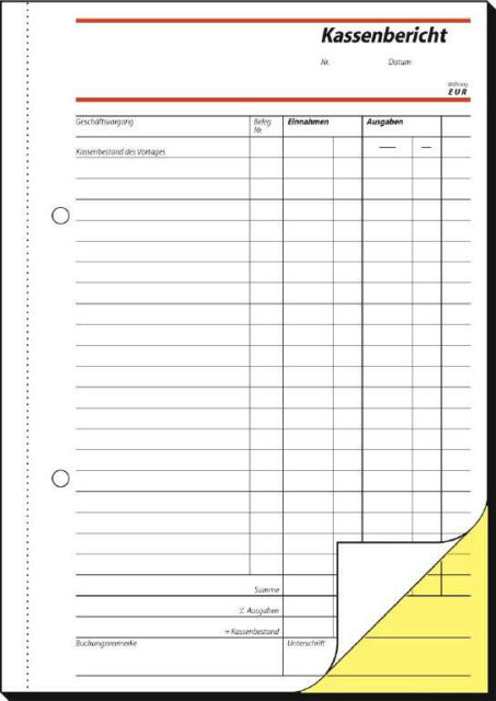 sigel Formularbuch SD007 Kassenbericht/Bestandsrechnung