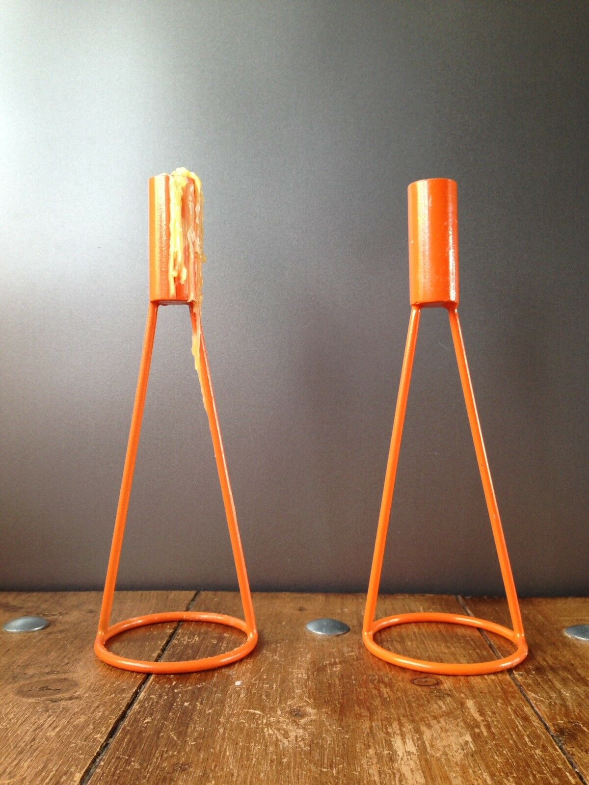 STYLISH PAIR OF RETRO BRIGHT Orange METAL CONICAL CANDLE HOLDERS VINTAGE MCM 70S
