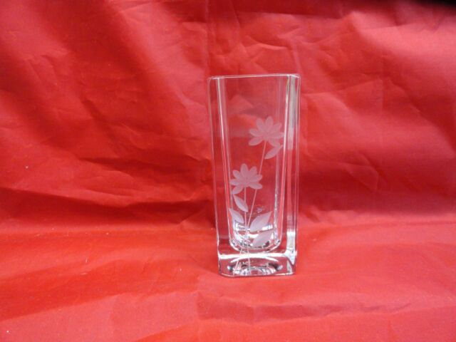 Mikasa Wildflower Lead Crystal Xy 091616 Square Etched Bud Vase 4 1