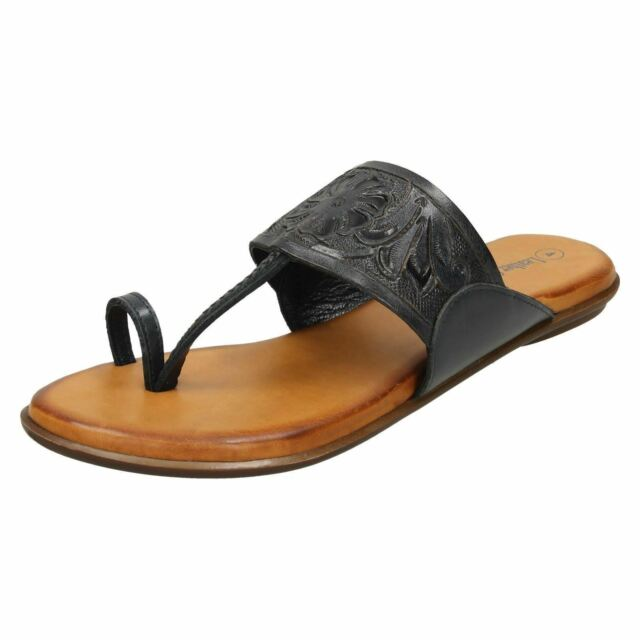4B Leather Collection Ladies Toe Ring Mule Sandals F0R0041 Black
