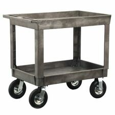 Zoro Select 2523wwg Plastic Utility Cart With Deep Lipped Plastic Shelves