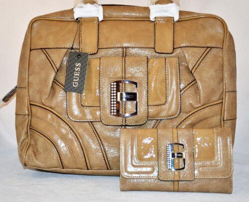 GUESS Castle Rock Shopper Tote Bag Purse Wallet Checkbook Set Black Camel New