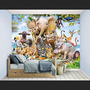 Details zu Safari Fototapete Tapete Kinderzimmer Kinder Wandbild Elefant  Tiere Dschungel
