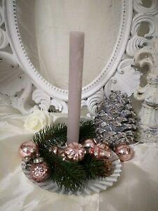 Chic Antique Kerzenständer für Baumkerzen weiß Metall Advent Weihnachten Shabby