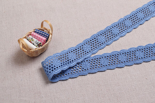 """14yds Embroidery Broderie Anglaise eyelet cotton lace Ribbon 1"""" YH1153 laceking"""