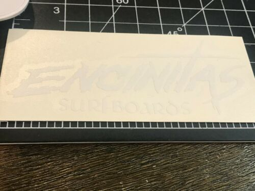 Encinitas Surfboards White New Wave Logo  4 3//4 x 2 inches Surf Sticker Decal