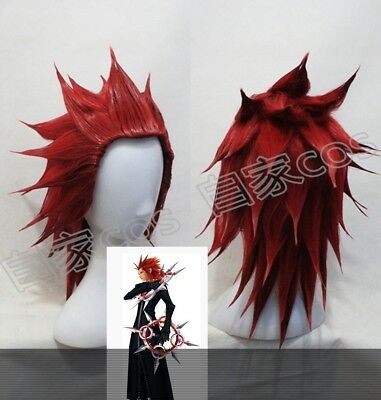 Kingdom hearts Axel Red Anime Cosplay Costume Wig Wig CAP Free Ship