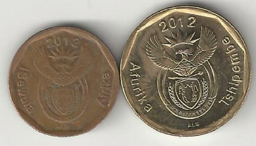2 DIFFERENT COINS from SOUTH AFRICA BOTH DATING 2012 10 /& 20 CENTS