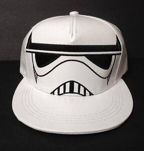1859c8598 Details about faux-leather STORMTROOPER SNAPBACK HAT White Flat Bill Star  Wars Men/Women/Teen