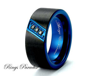 Triton Mens Sapphire Wedding Band Black Tungsten Carbide 8mm