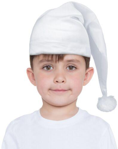 Filles Garçons Enfants Blanc Bonnet de nuit Schtroumpf accessoire robe fantaisie long chapeau