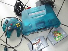 Nintendo 64 bleu clear blue PAL en très bon état  + 2 jeux dont Mario 64 N64