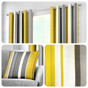 Fusion-WHITWORTH-STRIPE-Ochre-100-Cotton-Ready-Made-Eyelet-Curtains-amp-Cushions