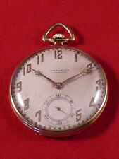 VINTAGE 18ct GOLD & ENAMEL ART DECO POCKET WATCH BY J.W.BENSON c1931