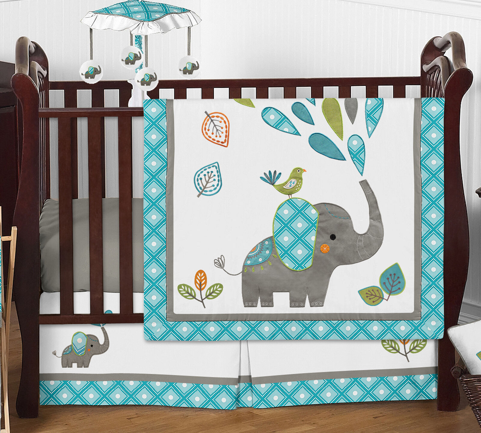 Blue Grey Mod Elephant Baby Boy
