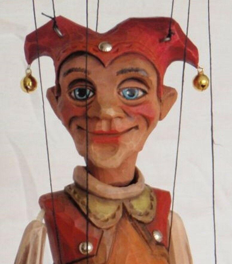 JESTER - wooden marionette, 15 inches tall, handmade from CZECH REPUBLIC