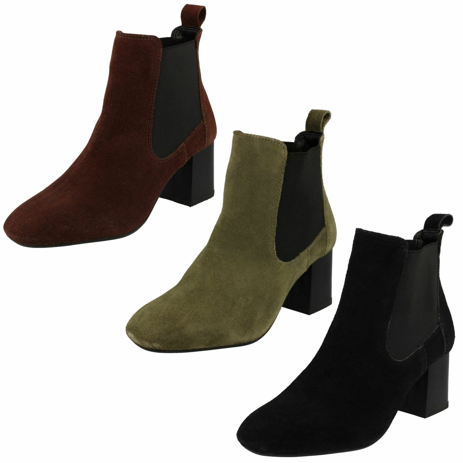 Ladies Leather Collection Mid Heel Twin Gusset Ankle Boots