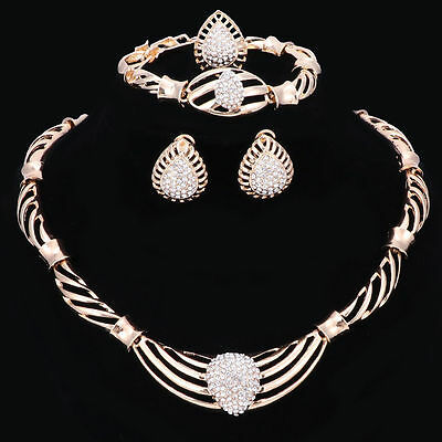 Gold Plated Water Drop Crystal Beads 4 Piece Jewelry Set By Scientific Process Fashion Jewelry Jewelry Sets
