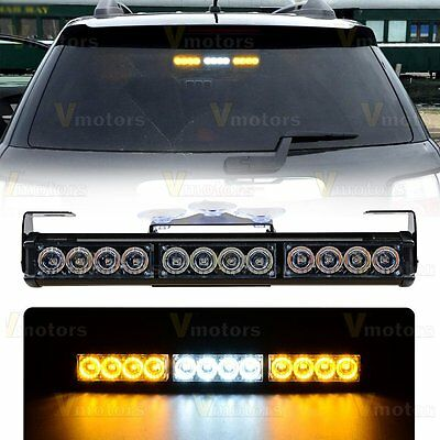 "14"" 12 LED Amber/White Emergency Warning Hazard Strobe Window Light Bar Car 12V"