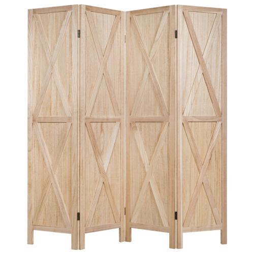 4 Panels Folding Wooden Room Divider W// X-shaped Design 5.6 Ft Natural Color