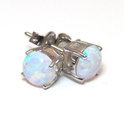 Unicorn Tear Opal Round Brilliant 4 Claw Studs Sterling Silver