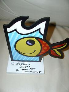 Raritaet-Romero-Britto-034-Boom-Fish-034-Orig-2005-white-Base-Skulptur-Unterschrift