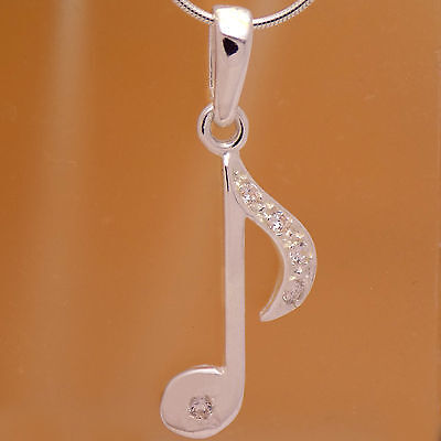 Awesome Solid 925 Sterling Silver Children Musical Note Tone White CZ Pendant