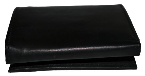 Men/'s Genuine Leather Trifold Wallet Black New With Gift Box