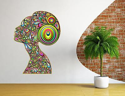 Wall Vinyl Mural Beautiful Girl Woman Hair Salon Sign Sticker Decals Decor