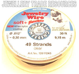 """0.30mm 100 FT GRIFFIN NYLON COATED STEEL BEADING /& PEARL WIRE .012/"""" 19 STRAND"""