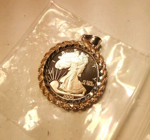 MILLENIUM SILVER EAGLE 1//4 OZ 999 SILVER COIN IN Sterling BEZEL NECKLACE PENDANT