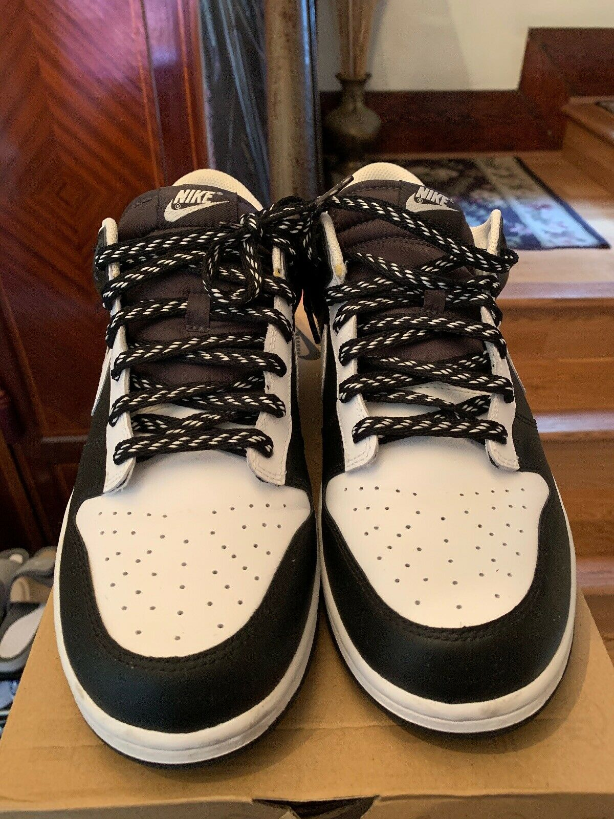 Nike Dunk Low Leather 2009 Black White 318019 101 Size 13