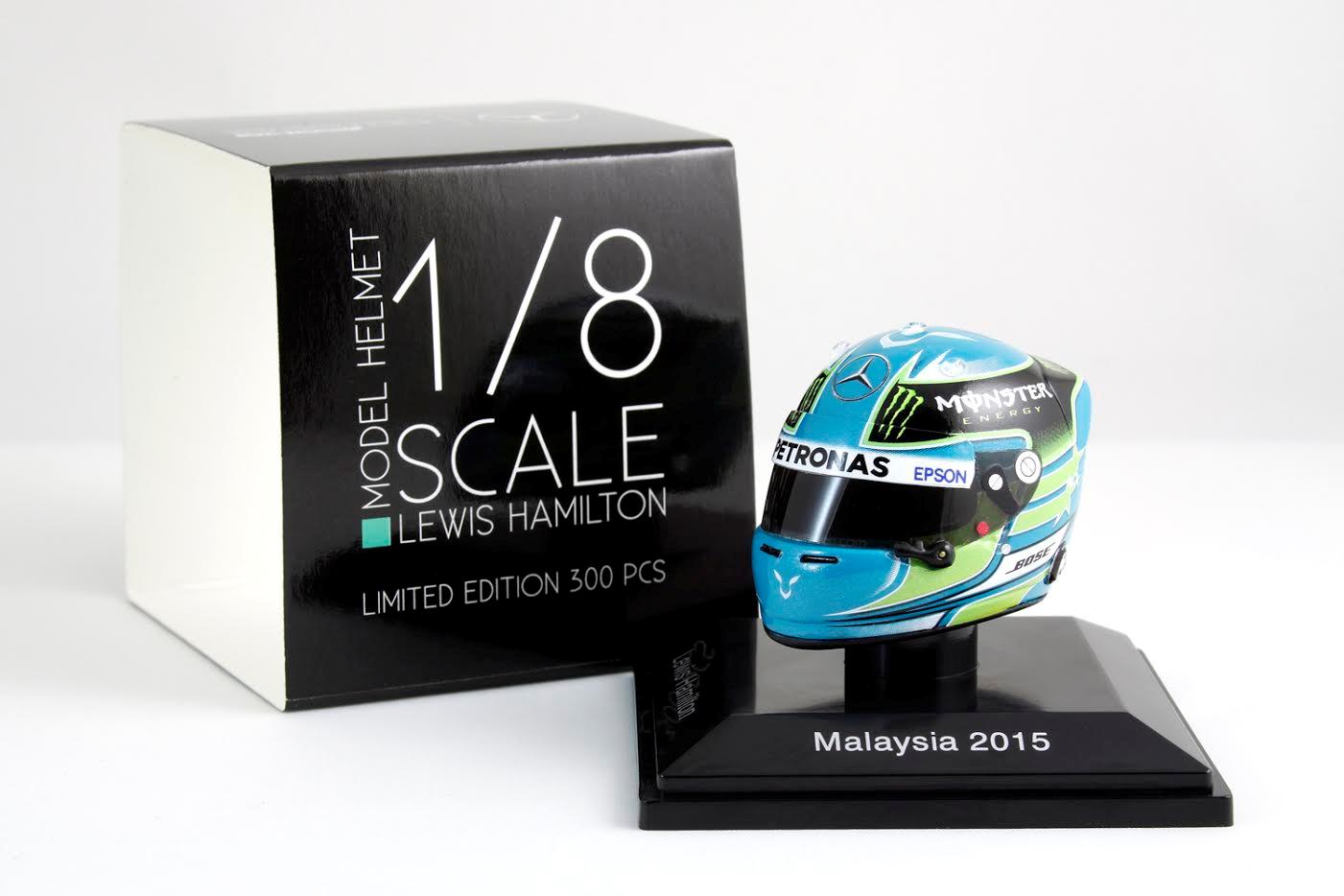 Spark 1 8 Scale Lewis Hamilton Mercedes AMG Petronas 2015 Casque de Malaisie