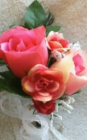 2 Corsage Pink, Peach, Coral Roses Customized Wedding Bouquet Prom Mother Bride