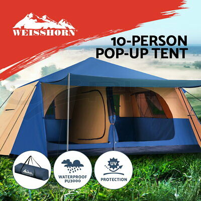 big sale 55115 df9f7 Weisshorn Instant Up Camping Tent 10 Person Pop up Tents Swag Family Hiking  Dome | eBay