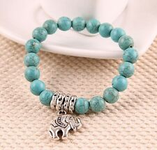 hot Turquoise Natural Classical cute tibet silver Elephant Pendant Bracelet