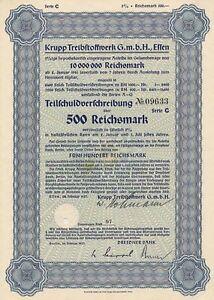 Krupp-Treibstoffwerk-Essen-Anleihe-1937-Wanne-Eickel-Herne-Benzin-aus-Kohle-Ol
