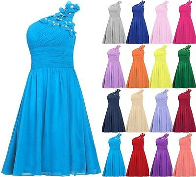 One-shoulder Chiffon Short Evening Formal Party Ball Gown Prom Bridesmaid Dress