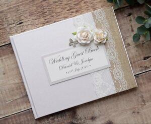 Details Sur Luxe Livre D Or De Mariage Personnalise Style Vintage Rose Motif Papillon