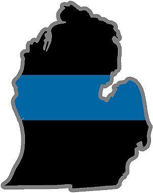 "5/"" MI Michigan State Thin Blue Line Police Sheriff SWAT Sticker Law Enforcement"