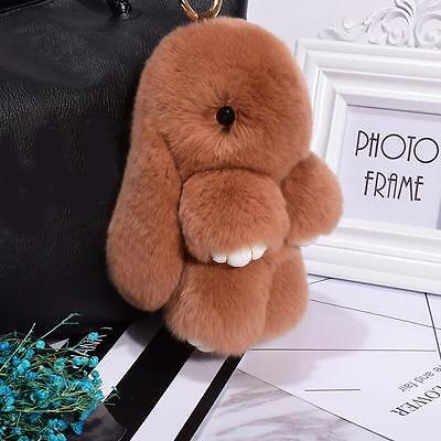 New Rabbit Keychain Fluffy Bunny Keychain Faux Rabbit Fur Pompom Key Ring YYT