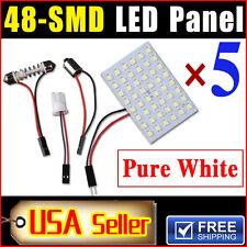 5 X Car Festoon T10 BA9S White LED 48SMD Panel Interior Dome Map Light Bulb Lamp