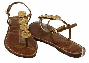 Sam-Edelman-Galia-Womens-Bronze-Leather-Thong-Fashion-Sandals