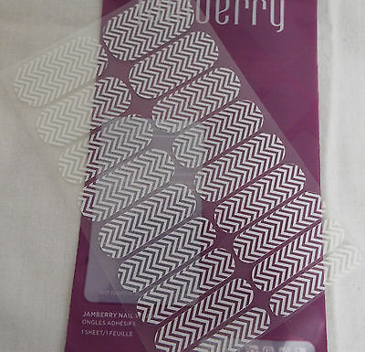 Jamberry White Chevron on Clear Nail Wrap CN10 Full Sheet Cut Off Logo