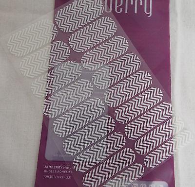 Jamberry White Chevron on Clear Nail WrapCN10  (Full Sheet) Cut Off Logo