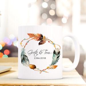 Tasse Becher Federkranz Namen Datum Kaffeebecher Präsent Geschenk Hochzeit Ts609 Tassen