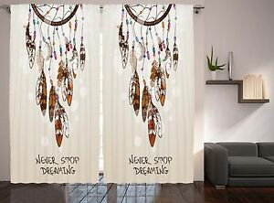 Details about Native American Decor Dreaming Feathers and Beads for luck  Curtain 2 Panel Set