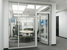 Cgp Office Partition System Glass Aluminum Wall 19 X 9 With Door Clear Anodized