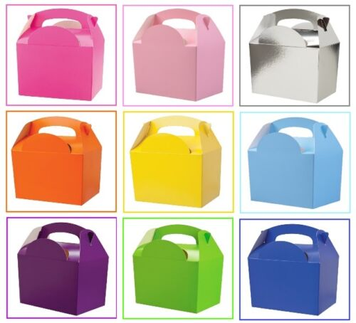 100 Assorted Plain Coloured Childrens Picnic Meal Food Birthday Party Bag Boxes